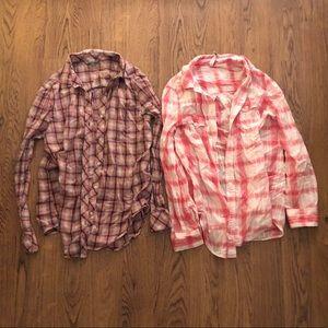Bundle. Two plaid button up shirts.